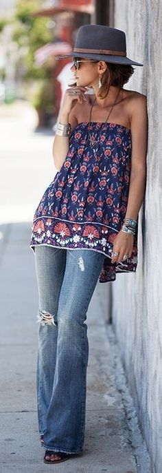 #summer #cool #outfitideas   Cute Off Shoulder Top + Ripped Denim