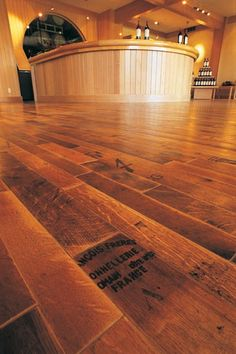 Very beautiful reclaimed wine barrel flooring.