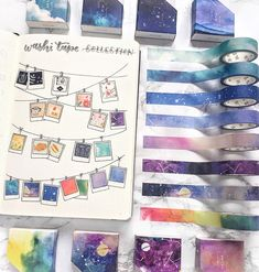 43 Cute and Clever Washi Tape Swatches for your bullet journal - Home Decorating Ideas Bullet Journal Washi Tape, Bullet Journal 2019, Bullet Journal Ideas Pages, Bullet Journal Inspiration, Washi Tape Cards, Washi Tape Planner, Washi Tape Diy, Washi Tapes, Duct Tape