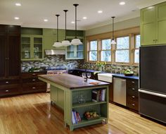 Delightful Green U0026 Brown Kitchen   Very Neat And Earthy. Like The Island With Space For