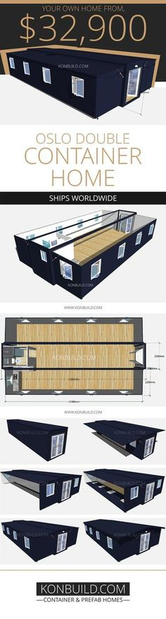 The Oslo Double, is double the size of the standard Oslo and Oslo Grand. Das Oslo Double ist doppelt so groß wie das Standard-Oslo und das Oslo Grand. Building A Container Home, Container Cabin, Container Buildings, Container Architecture, Cargo Container, Container Design, Contener House, Tiny House Living, Shipping Container House Plans