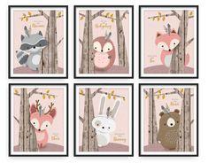 Woodlands Nursery Set of 6 Print Set Forest Animal Set Nursery Art Forest Friends Nursery Fore Woodland Nursery Prints, Forest Nursery, Woodland Theme, Nursery Wall Art, Girl Nursery, Nursery Themes, Nursery Decor, Forest Animals, Woodland Animals