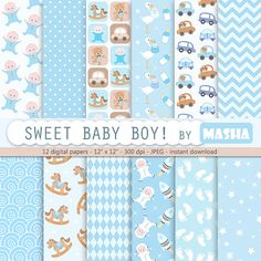 """Baby boy digital paper: """" BABY BOY"""" with soft blue patterns, cars, spacebaby, rocking horse, baby foots steps for scrapbooking, invites"""
