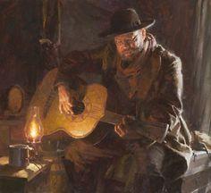"""Guitar Man"", by American artist - Morgan Weistling (1964 - ), Oil on canvas, 22"" x 24"""