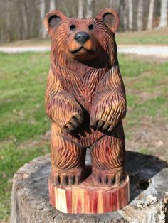 24-28 inch Bear Cub Chainsaw Wood Carving by SleepyHollowArtists