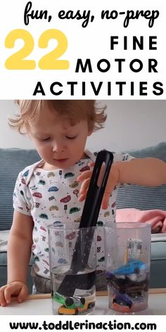 Check out these 22 fun, easy, no-prep toddler activities that help your toddler develop and practice their fine motor skills. Try out today activities 22 fun, easy, no-prep toddler activities - fine motor skills - toddler activities at home to try out Toddler Fine Motor Activities, Motor Skills Activities, Montessori Activities, Infant Activities, Preschool Learning, Toddler Activity Board Motor Skills, Fine Motor Activity, 18 Month Old Activities, Kids Activities At Home