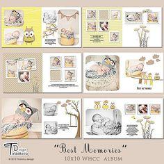 "Album- Photoshop Templates ""Best Memories"" for photographers Scrapbook Templates, Scrapbook Sketches, Newborn Photos, Baby Photos, Kids Photo Album, Baby Photo Books, Capas Dvd, Book Labels, Baby Album"