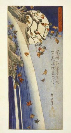 'Moon through leaves', woodblock print by Hiroshige, ca. 1832