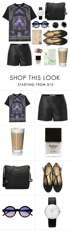 """in the café, reading your letters."" by thegardener ❤ liked on Polyvore featuring Givenchy, Label Lab, Rosendahl, Butter London, MICHAEL Michael Kors, Marais, Illesteva, Junghans, Pim + Larkin and patent leather handbags"
