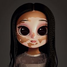 Cartoon, Portrait, Digital Art, Digital Drawing, Digital Painting, Character Design, Drawing, Big Eyes, Cute, Illustration, Art, Girl, Vitiligo
