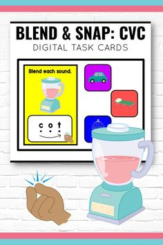 """Blending CVC words is easy with these digital task cards (Boom Learning). There are 30 words for students to blend and then """"snap"""" back together to read. Add these to your literacy centers or at home learning - they have visual supports to increase independence and are self-checking!"""
