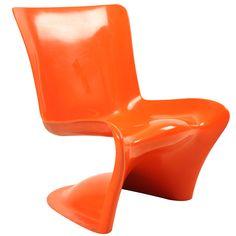 Hans Christiansen polyester chair Denmark rare furniture 1960's