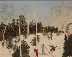 """GRANDMA MOSES (ANNA ROBERTSON) (1860-1961)  Untitled  Skier Fallen with Deer and Man Snowscene  gouache on artist board  signed lower left Moses  Label on reverse from Robert Elkon Gallery, 1063 Madison Ave, New York, N.Y.  15 1/4"""" x 19 1/2""""  Provenance:  Robert Elkon Gallery, NY, 1971  Galerie St. Etienne, NY (stamp)  Collection of JoAnn List Levenson  Current Private Collection  Included Documentation:  Robert Elkon Gallery original bill of sale May 19, 1971  Estimate: $20,000 - $40,000"""