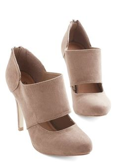 Props to Your Panache Heel in Taupe - High, Faux Leather, Tan, Solid, Cutout, Party, Work, Girls Night Out, Minimal, Good, Variation