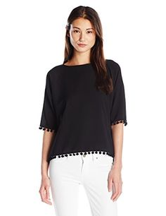 French Connection Womens Pom Polly Top Black XSmall * Read more reviews of the product by visiting the link on the image.(This is an Amazon affiliate link and I receive a commission for the sales)