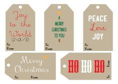FREE DOWNLOADABLE Christmas gift tags To and From