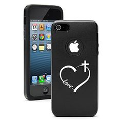 Apple iPhone 5c Shockproof AS Aluminum & Silicone Hard Soft Case Cover Love Heart Cross Christian (Black) Daylor