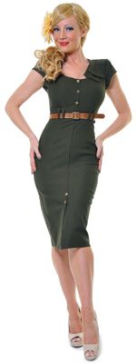 STOP STARING 1940's Style Army Green Wiggle Dress $146.00
