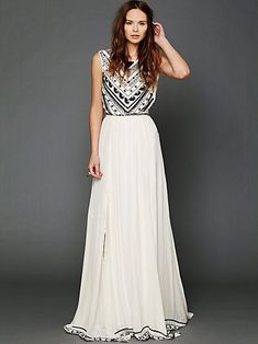 Mara Hoffman for Free People white maxi dress with black detail...in love with this dress.