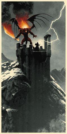 Stunning 'LOTR' Gandalf Posters By Matt Ferguson Gandalf vs the balrog. Legolas, Thranduil, Gandalf Balrog, Balrog Of Morgoth, Aragorn, Jrr Tolkien, Fantasy World, Fantasy Art, Tattoo Geek