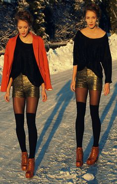 Wear gold sequinned shorts like you're going to Studio 54 in a snowstorm