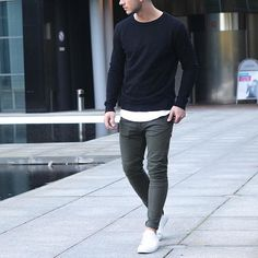 Black longsleeve and biker jeans