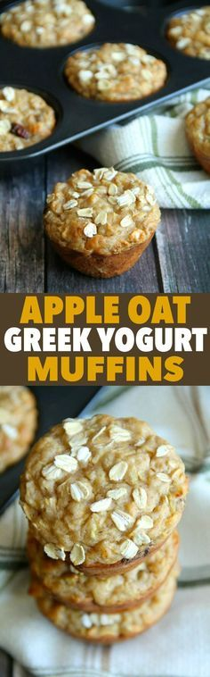 Oat Greek Yogurt Muffins Apple Oat Greek Yogurt Muffins -- ridiculously soft and tender with NO butter or oil! A perfect breakfast or snack!Apple Oat Greek Yogurt Muffins -- ridiculously soft and tender with NO butter or oil! A perfect breakfast or snack! Breakfast And Brunch, Breakfast Low Carb, Healthy Breakfast Muffins, Perfect Breakfast, Breakfast Recipes, Breakfast Ideas, Yogurt Breakfast, Brunch Recipes, Healthy Apple Muffins