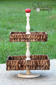 DIY::Tiered Basket Tray...would be a great solution for keeping up with little girl's hair accessories!