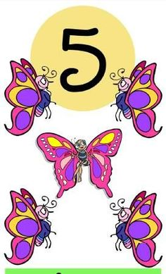 ‿✿⁀Five beautiful butterflies, beholding God's holy place. Five is the perfect numeber of His amazing grace. Math For Kids, Lessons For Kids, Fun Math, Math Games, Preschool Activities, Abc Preschool, Numbers Preschool, Math Numbers, Alphabet And Numbers