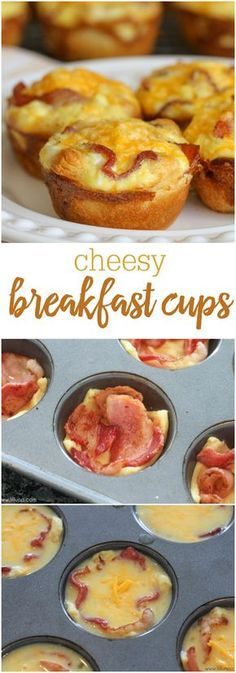Hubby loves these! breakfast-cups-collageSimple Cheesy Breakfast Bites - a crescent roll bottom with eggs, bacon and cheese on top! The perfect bite size muffins for breakfast or brunch! (cooking with kids ideas muffin tins) Breakfast Bites, What's For Breakfast, Breakfast Muffins, Bacon Breakfast, Morning Breakfast, Crescent Roll Breakfast, Breakfast Recipes With Eggs, Breakfast Ideas With Eggs, Bite Size Breakfast