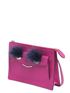 FENDI - MONSTER LEATHER CLUTCH WITH FOX FUR