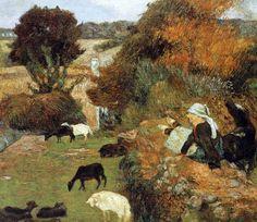 Paul Gauguin - Post Impressionism - La bergère Bretonne - Shepherdess - 1886