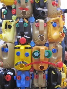 How clever  - upcycled detergent containers into sculpture - so fun for kids