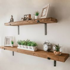 Rustic Wooden Wall Shelf Large Industrial Wood Metal Floating Shelf Storage Unit - HOME Metal Floating Shelves, Rustic Wall Shelves, Diy Hanging Shelves, Wood Wall Shelf, Wooden Shelves Kitchen, Large Wall Shelves, Wall Shelf Decor, Rustic Floating Shelves, Decorative Wall Shelves