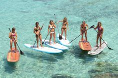 Surfer girls turned into paddleboard girls. This will be me in a couple of.years once we get to Hawaii. Bachelorette Bucket Lists, Bachelorette Time, Summer Vibes, Summer Fun, Sup Stand Up Paddle, Sup Yoga, Sup Surf, Florida Beaches, Beach Bum