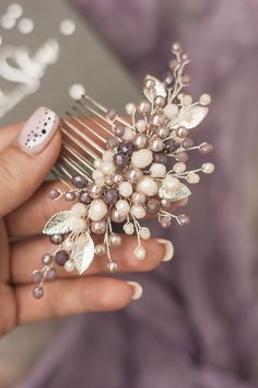 Items similar to Powder lavender bridal hair comb, Dusty purple pearl wedding hair piece, Beige bride headpiece, Floral hairstyle accessory, Hair leaf jewel on Etsy Floral Wedding Hair, Wedding Hair Pieces, Floral Hair, Wedding Veils, Purple Wedding, Flower Hair Accessories, Wedding Hair Accessories, Bridal Comb, Bridal Headpieces