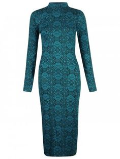 KarmaClothing Teal Long Sleeve Ornate Paisley Floral Polo Neck Midi Dress