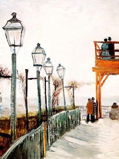 Vincent Van Gogh - Post Impressionism - Paris - Terrasse du Moulin Blute-fin