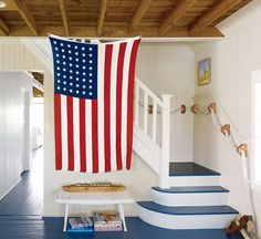 Maritime Home Makeover: Red, White & Blue Interior Design - Coastal Living Mobile Coastal Living Rooms, Coastal Homes, Cottage Living, Cottage Entryway, Coastal Farmhouse, Beach Cottage Style, Coastal Style, Maine Cottage, Nantucket Cottage