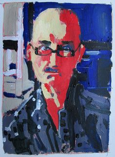 Self with Glasses. acrylic and pencil on unprimed Whatman paper - harry stooshinoff