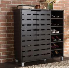 Wood 18 Pair Shoe Cabinet Storage Rack Organizer Entryway Shelves 2 Door Closet #BaxtonStudio #ContemporaryModern