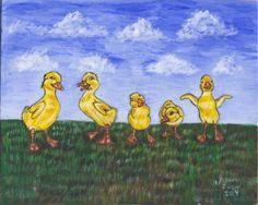 Nfac Original Acrylic Painting Duckling Art Ducks Birds Animals Wildlife | eBay