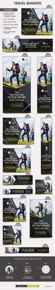 Travel Banners Template #design Download: http://graphicriver.net/item/travel-banners/12425036?ref=ksioks