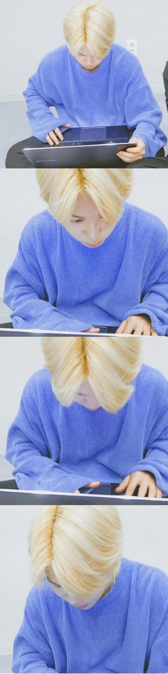 Blonde Jimin+Blue Sweatshirt=Aesthetic (♡0♡)