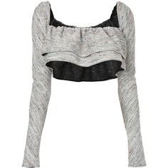 Georgia Alice Cosmic cropped top ($430) ❤ liked on Polyvore featuring tops, grey, gray crop top, gray top, crop top, galaxy crop top and galaxy print crop top