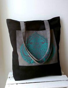 Black turquoise tote bag Large shoulder bag Oriental tote bag Boho chic bag Vegan tote bag Zippered bag College tote Shopper bag Bohemian