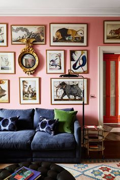 The artist owners of this London house called on interior designer Beata Heuman to create a family home full of fun, distinctive design and strong colours My Living Room, Home Interior, Interior Design Living Room, Living Room Designs, Pink Living Rooms, Blue And Pink Living Room, Bright Living Room Decor, London Living Room, Colourful Living Room