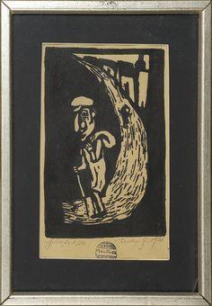 Jerzy Duda Gracz | WĘDROWIEC, Z SERII JUDAICA, 1964 | linoryt, papier | 20.2 x 12.8 cm