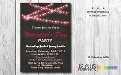 INSTANT DOWNLOAD - Valentine Invitation Card, Valentines Day Party Invitation, Valentines Day Invitation, Valentine Party, DIY Editable pdf by J2PlusGraphics on Etsy https://www.etsy.com/listing/467652660/instant-download-valentine-invitation
