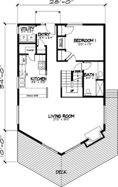 First Floor Plan of A-Frame   Cabin   Narrow Lot   Vacation   House Plan 57437